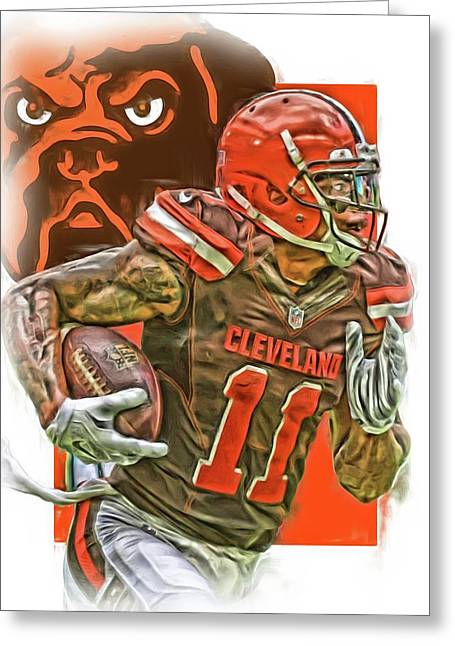Terrelle Pryor Cleveland Browns Oil Art Greeting Card by Joe Hamilton