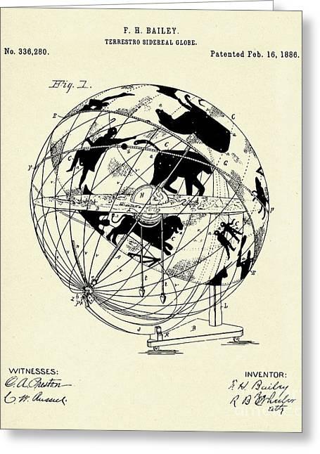 Terrestro Sidereal Globe-1886 Greeting Card