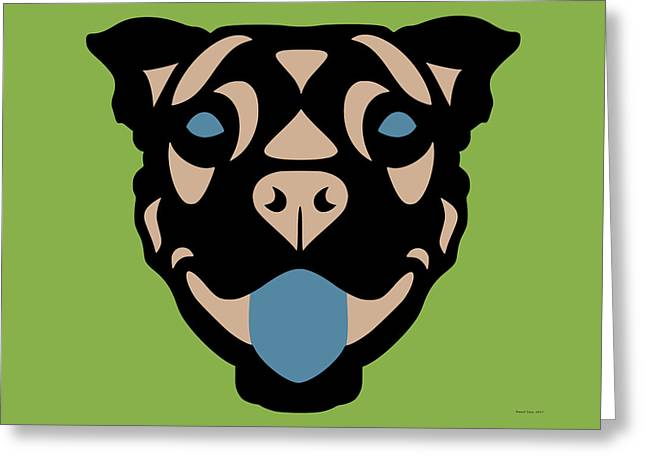 Terrier Terry - Dog Design - Greenery, Hazelnut, Niagara Blue Greeting Card