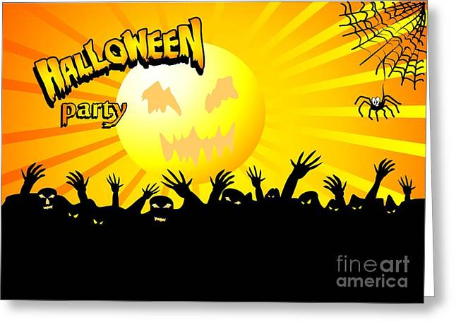 Terrific Dance Of The Zombies In Halloween Greeting Card