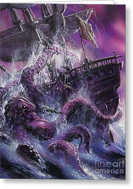 Giant Squid Greeting Cards - Terror from the Deep Greeting Card by Oliver Frey