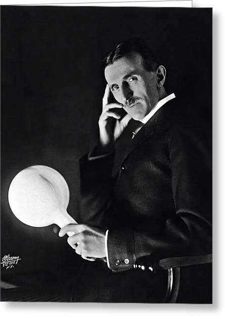 Tesla And Wireless Light Bulb Greeting Card by Daniel Hagerman