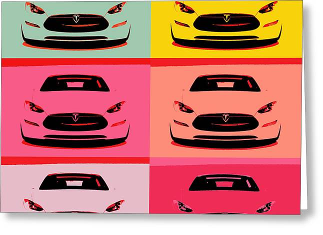 Tesla Car Pop Art Greeting Card