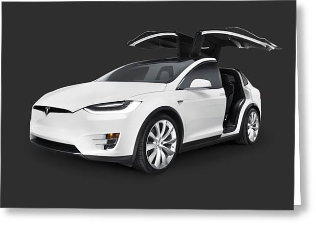 Tesla Model X Luxury Suv Electric Car With Open Falcon-wing Doors Art Photo Print Greeting Card