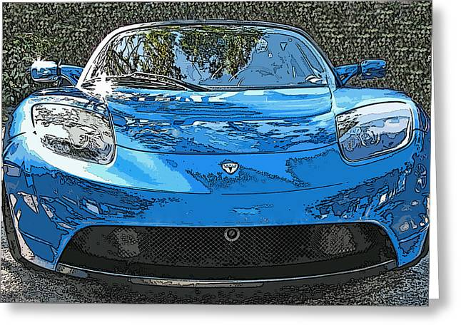 Tesla Roadster Electric Sports Car Greeting Card