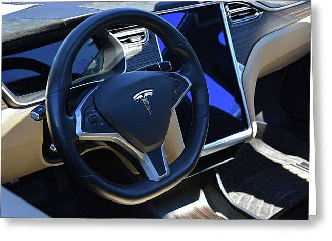 Tesla S85d Cockpit Greeting Card by Mike Martin