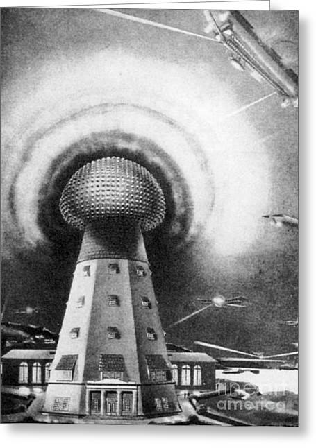 Citizens Greeting Cards - Tesla Tower, 1919 Greeting Card by Science Source