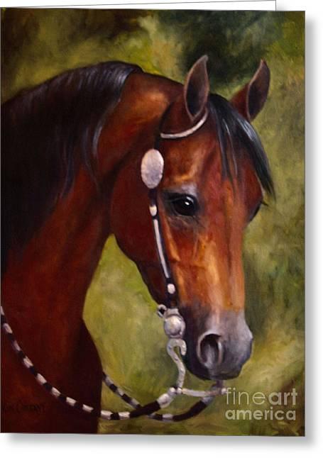 Tesoro Prc Western Arabian Horse Painting Portrait Greeting Card by Kim Corpany
