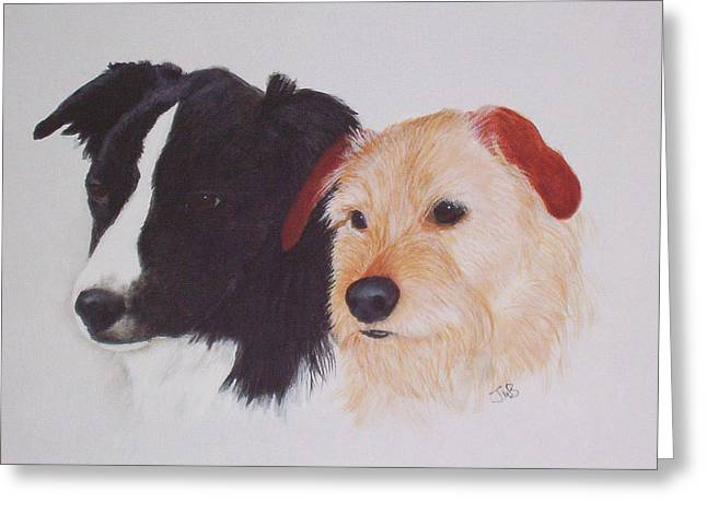 Tess And Winston Greeting Card by Janice M Booth