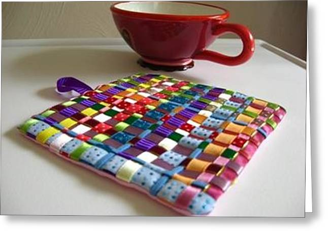 Tessa Ribbons Of Color Tea Trivet Greeting Card by Gretchen Wrede