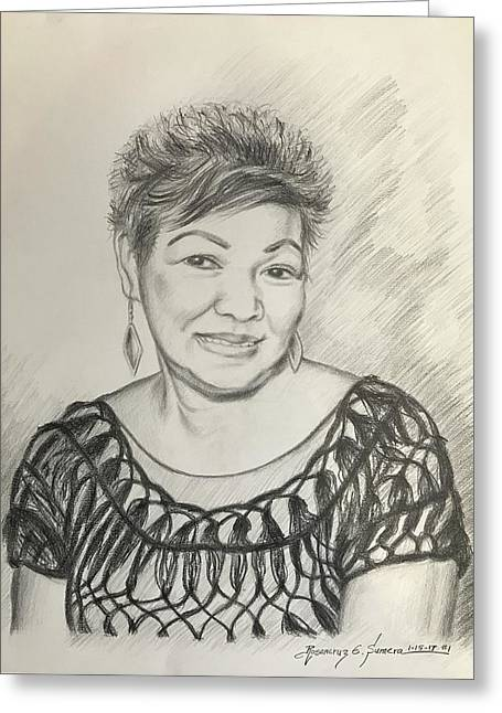 Greeting Card featuring the drawing Tessie Guinto  by Rosencruz  Sumera