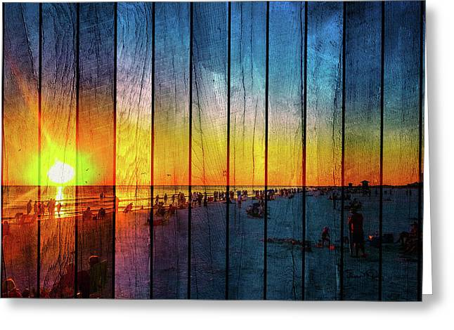 Siesta Key Drum Circle Sunset - Wood Plank Look Greeting Card