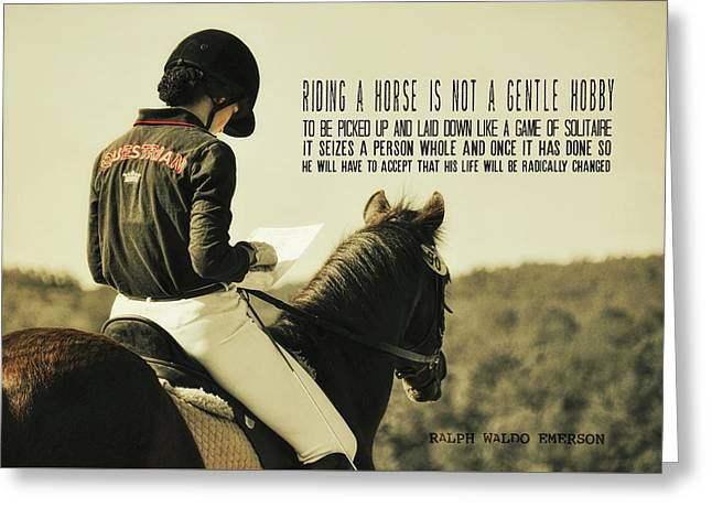 Greeting Card featuring the photograph Test Ready Quote by Dressage Design