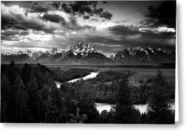 Teton Drama Greeting Card by Andrew Soundarajan