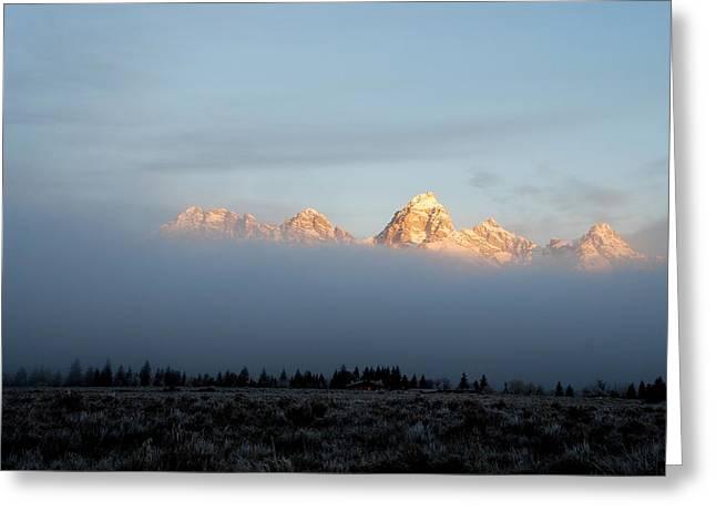 Teton Foggy Morning Greeting Card