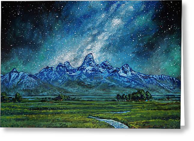 Greeting Card featuring the painting Teton Milky Way by Aaron Spong