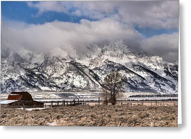 Teton Mormon Homestead Panorama Greeting Card by Adam Jewell