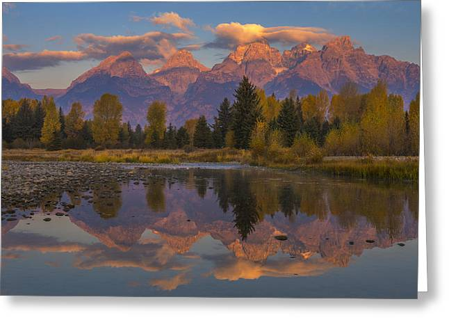 Teton Morning Mirror Greeting Card by Joseph Rossbach