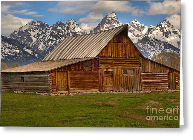 Teton Mountain Barn Greeting Card by Adam Jewell
