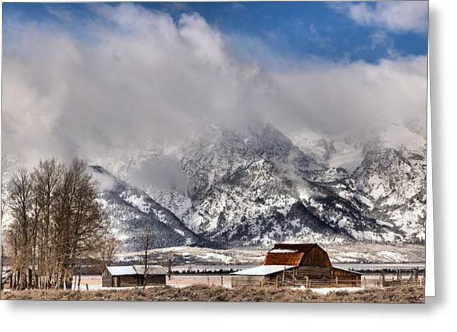 Teton Mountains Over Mormon Row Greeting Card by Adam Jewell