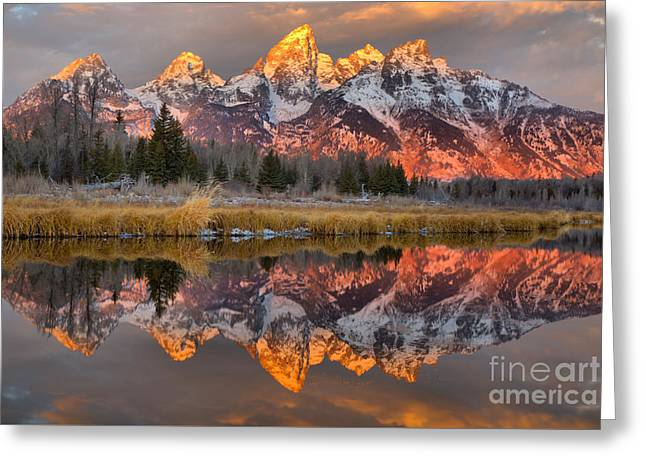 Teton Mountains Sunrise Rainbow Greeting Card