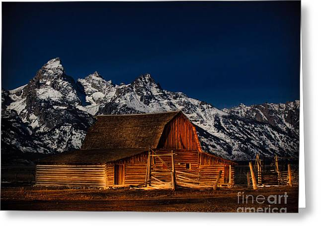 Teton Mountains With Barn Greeting Card