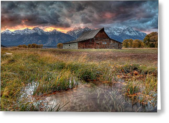 Teton Nightfire At The Ta Moulton Barn Greeting Card