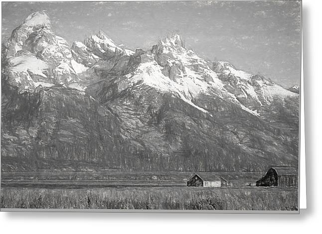 Teton Range Charcoal Sketch Greeting Card by Dan Sproul