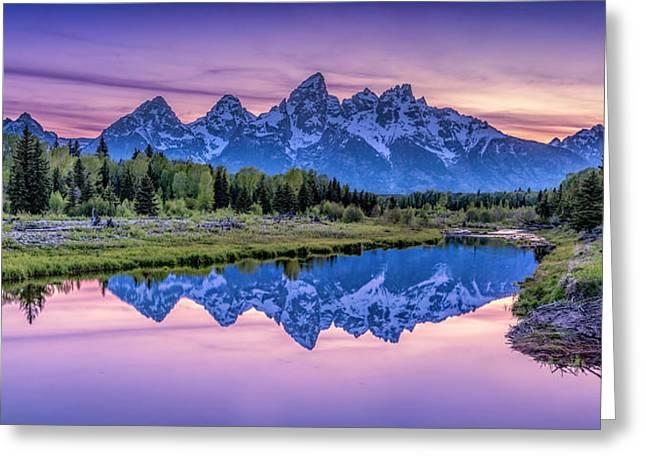 Sunset Teton Reflection Greeting Card