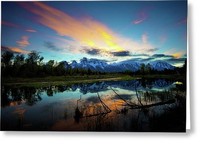 Greeting Card featuring the photograph Teton Sunset by Norman Hall
