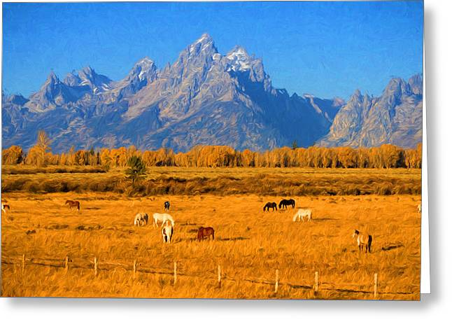 Tetons And Horses Greeting Card by Greg Norrell
