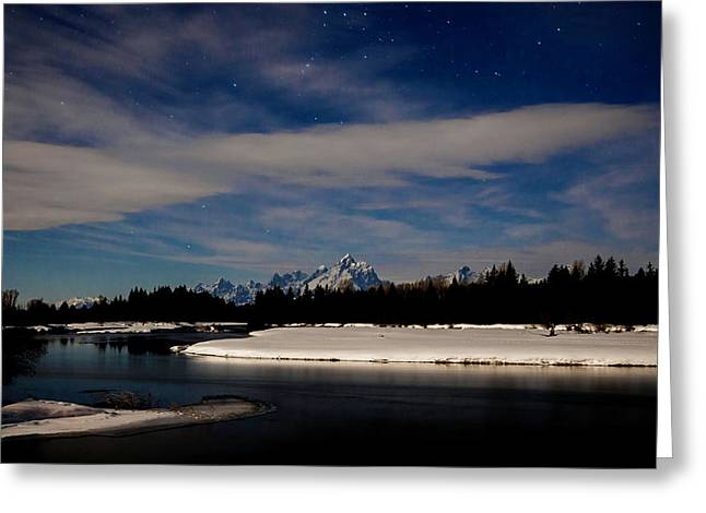 Tetons At Moonlight Greeting Card