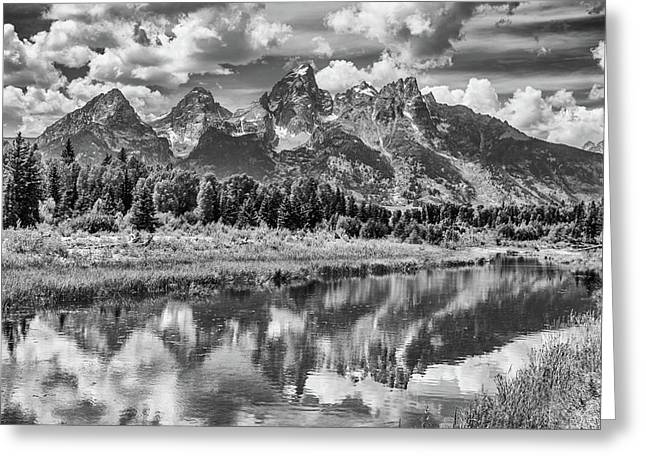 Tetons In Black And White Greeting Card by Mary Hone