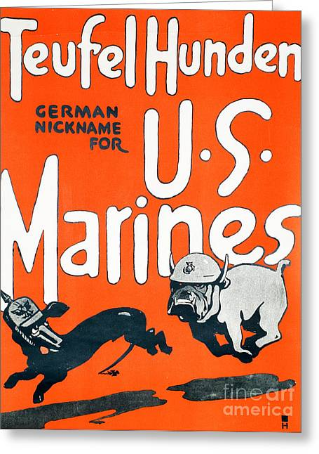 Teufel Hunden Us Marines Poster Greeting Card by American School