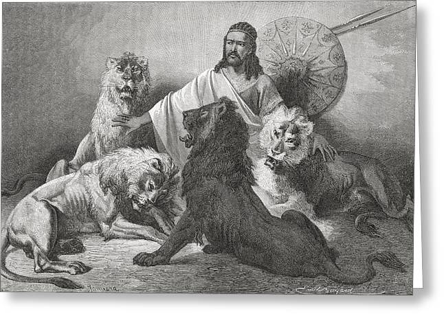 Tewodros Holding Audience, Surrounded Greeting Card by Ken Welsh