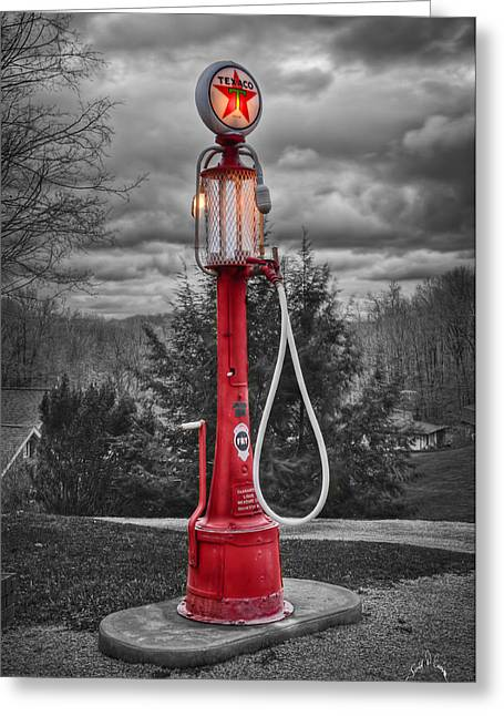 Texaco Gas Pump Greeting Card by Williams-Cairns Photography LLC