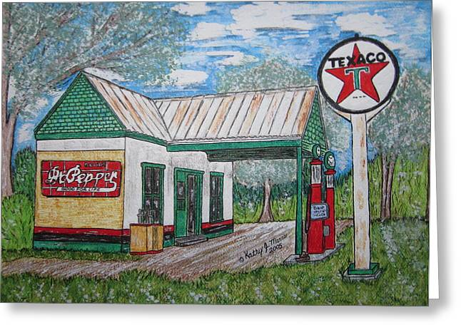 Greeting Card featuring the painting Texaco Gas Station by Kathy Marrs Chandler