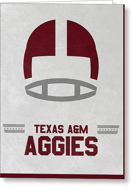 Texas A M Aggies Vintage Football Art Greeting Card by Joe Hamilton
