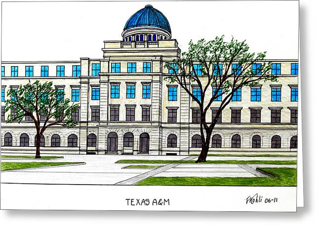 Pen And Ink Framed Prints Greeting Cards - Texas AM University Greeting Card by Frederic Kohli