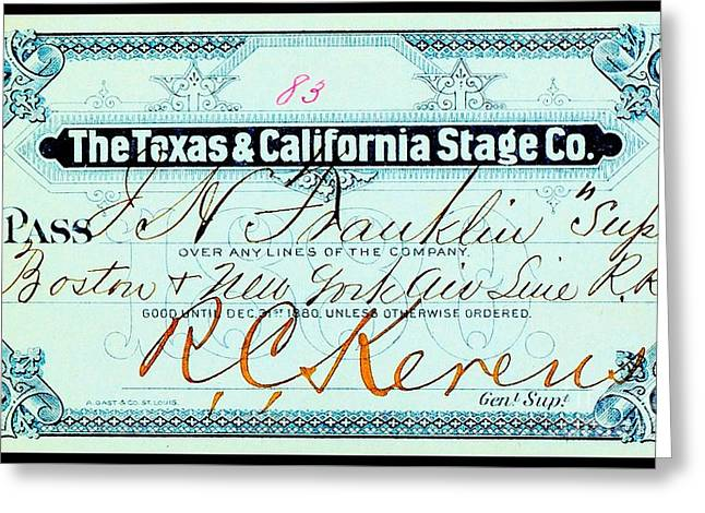 Greeting Card featuring the drawing Texas And California Stage Company Boston And New York Air Line Railroad Ticket 19th Century by Peter Gumaer Ogden