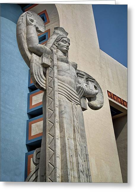 Greeting Card featuring the photograph Texas Art Deco Sculpture by David and Carol Kelly