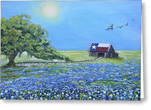 Texas Barn And Live Oak Greeting Card by Melissa Torres