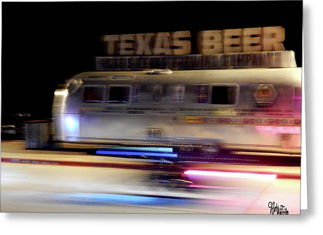 Texas Beer Fast Motorcycle #5594 Greeting Card by Barbara Tristan