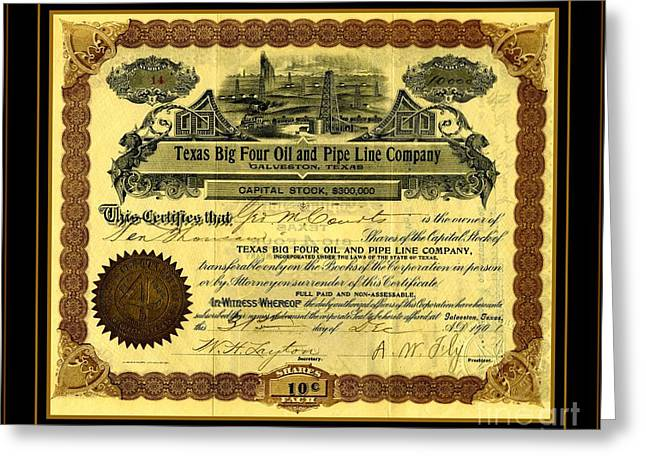 Greeting Card featuring the drawing Texas Big Four Oil And Pipeline Company Stock Certificate 1901 With Oil Field And Tanker Train Scene by Peter Gumaer Ogden