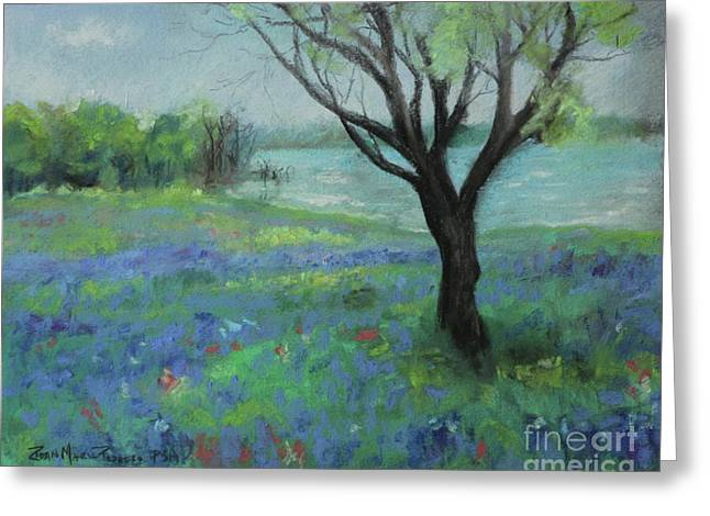 Greeting Card featuring the painting Texas Bluebonnet Trail by Robin Maria Pedrero