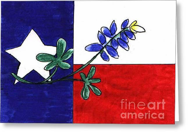 Texas Bluebonnet Greeting Card by Vonda Lawson-Rosa