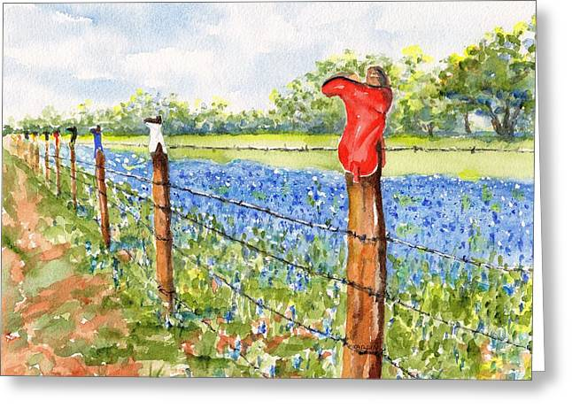 Greeting Card featuring the painting Texas Bluebonnets Boot Fence by Carlin Blahnik CarlinArtWatercolor