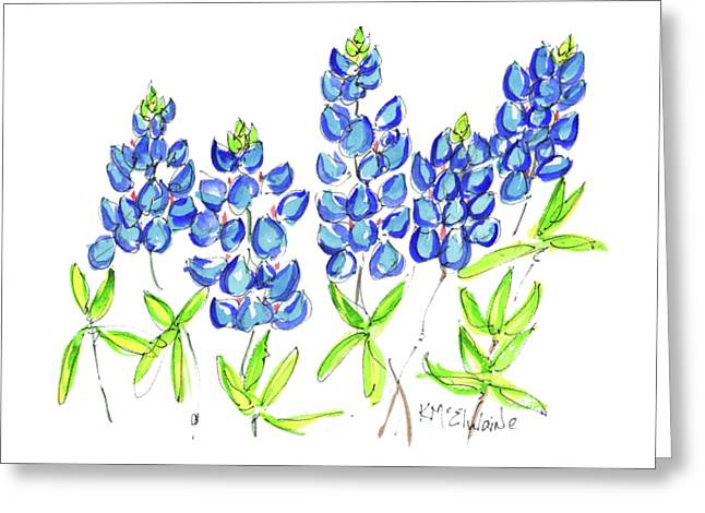 Texas Bluebonnets Watercolor Painting By Kmcelwaine Greeting Card
