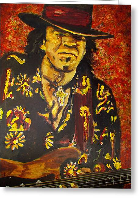 Greeting Card featuring the painting Texas Blues Man- Srv by Eric Dee