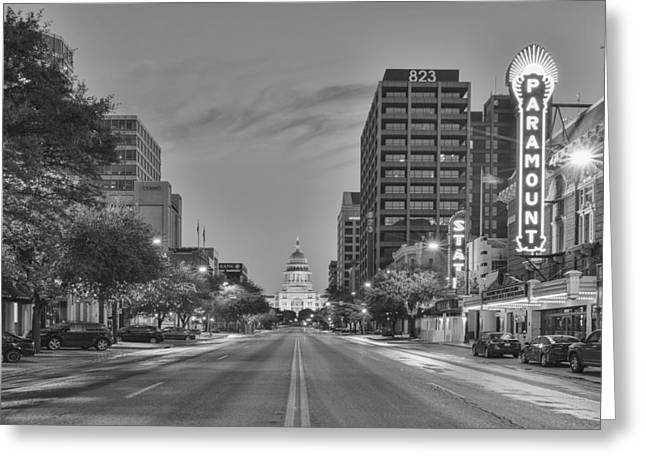 Texas Capitol And Paramount Theater In Black And White Greeting Card